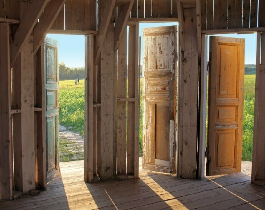 Three wooden doors side by side open to a grassy field