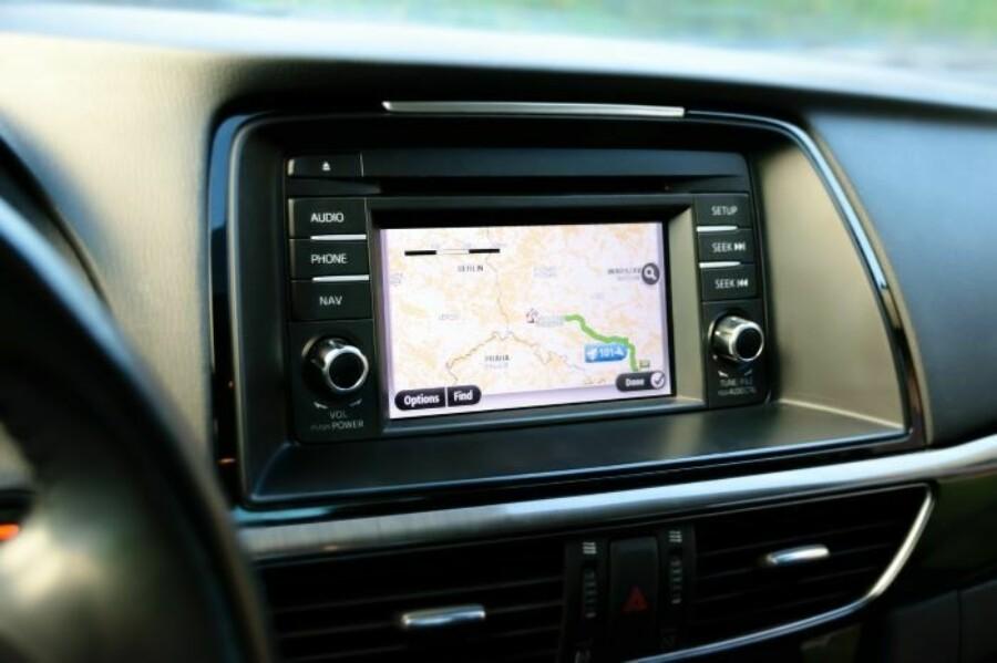GPS navigation device in car dashboard
