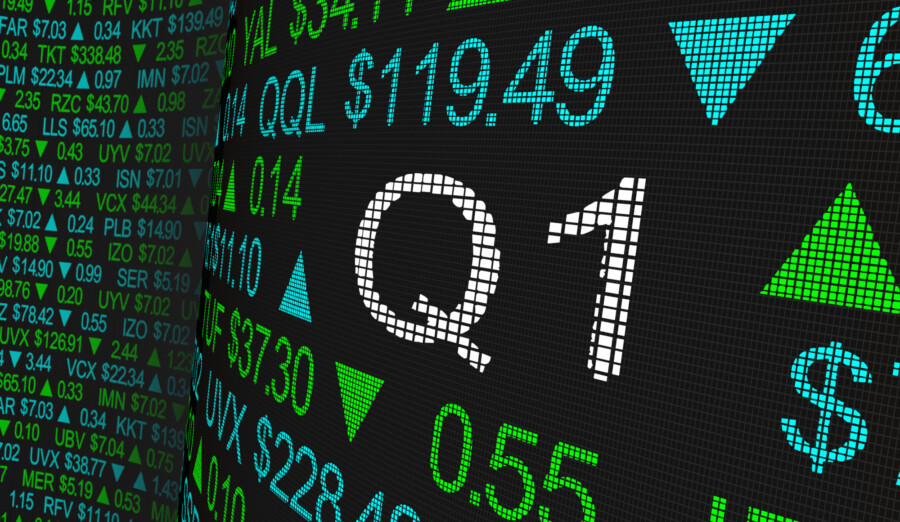 Stock data on a big screen for Q1