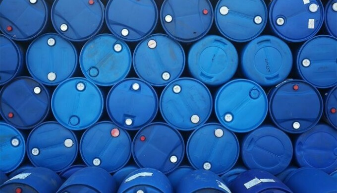 Blue oil drums stacked up
