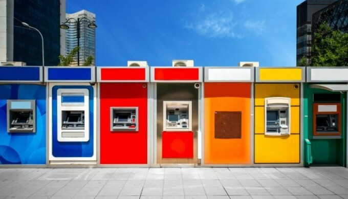 Line of colorful ATM bank machines in modern city