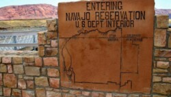 sign with map of the Navajo Reservation in Utah, Arizona, and New Mexico