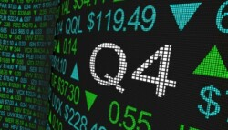 4th quarter numbers at the stock exchange projected digitally