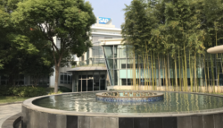 Water fountain in front of an SAP headquarters building