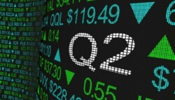 Stock market ticker Q2 earnings report