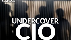 shadows of people behind a closed-door meeting with ASUG Undercover CIO logo