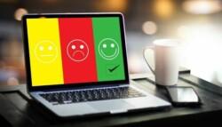 employee feedback survey on a laptop