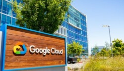 Google Cloud office sign and building