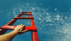 person climbing red wooden ladder