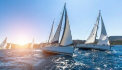sailboats racing side by side in blue waters