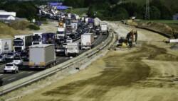 traffic jam on a highway under construction