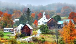 New England town with fall colors