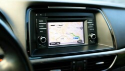 GPS navigation device in car dashboard