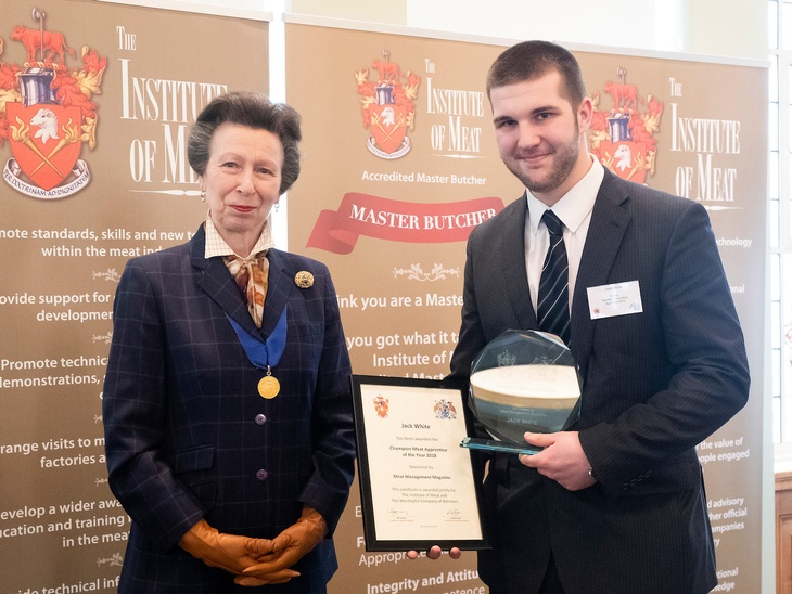 Champion Meat Apprentice of the Year, Jack White presented with his award by HRH The Princess Royal.