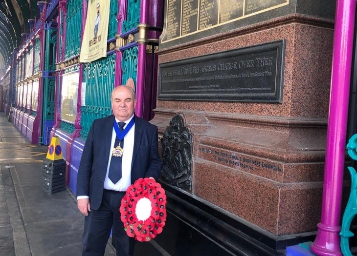 The Master, Tim Dumenil marking VE Day at Smithfield Market.