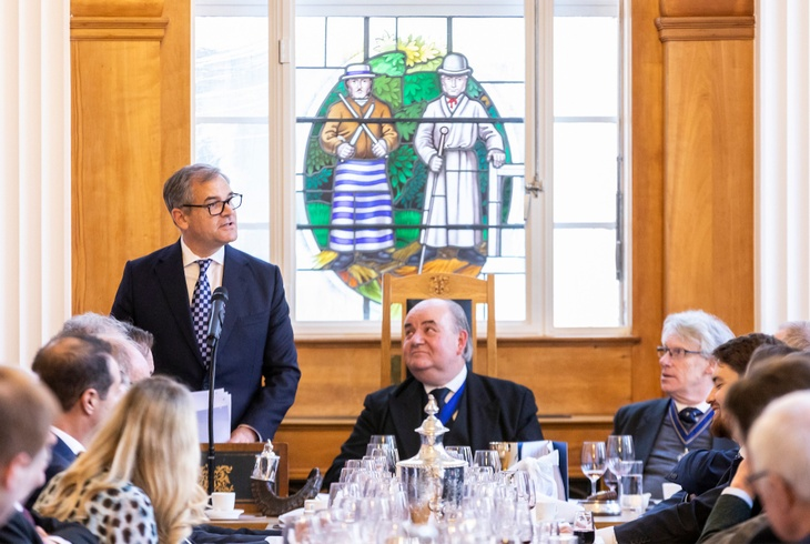 Guest of honour Bruce Carnegie Brown, Chairman of Lloyds of London, at Butchers' Hall Court Lunch.
