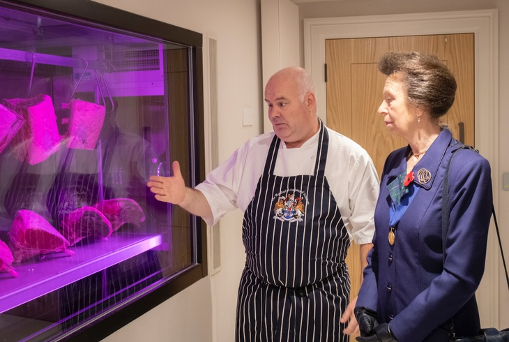 Dave Pay of Life's Kitchen shows off the meat ageing window, a new feature in the Hall