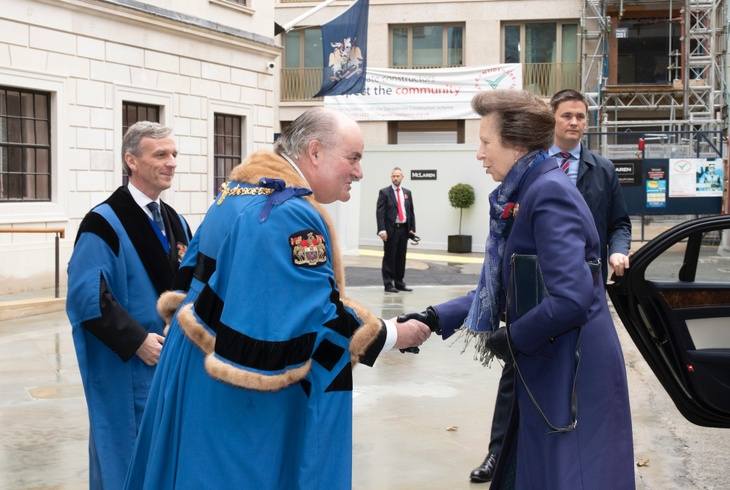 The Master and The Clerk welcome HRH the Princess Royal to Butchers' Hall