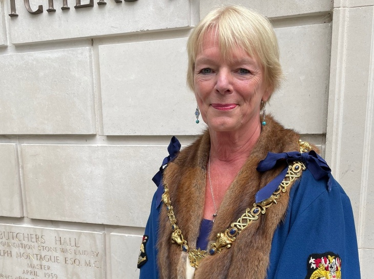 New Master, Margaret Boanas outside Butchers' Hall shortly after she was elected at Common Hall.