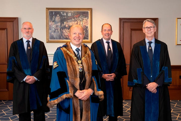 New Liverymen Julien Pursglove, Jim Connell and Paul Dolan pictured with The Master, Andrew Parker