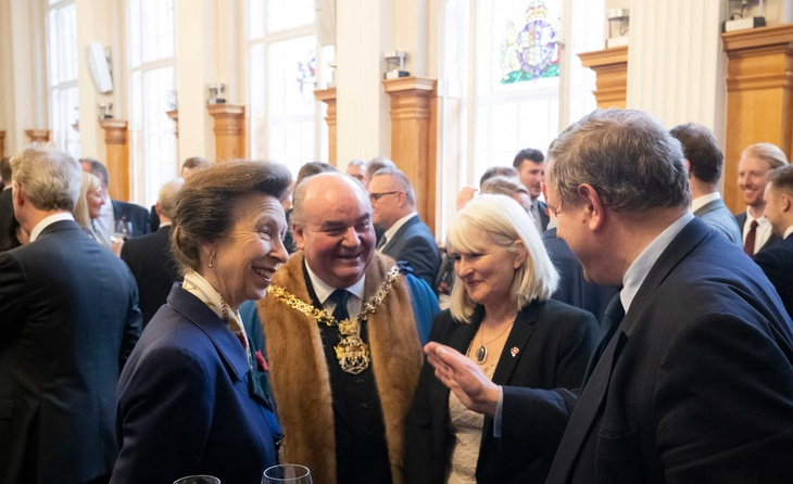 The Master and HRH The Princess Royal meeting guests at the official re-opening of Butchers' Hall in November.