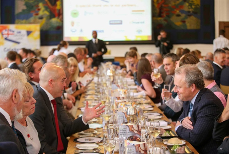 Guests enjoying lunch at Butchers' Hall for UK Sausage Week (photo credit: Meat Management).