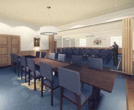 Butchers' Hall - Artist's' Impression of Courtroom