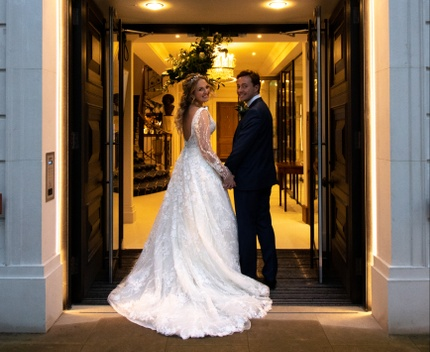 Butchers' Hall - Bride & Groom in the Doorway
