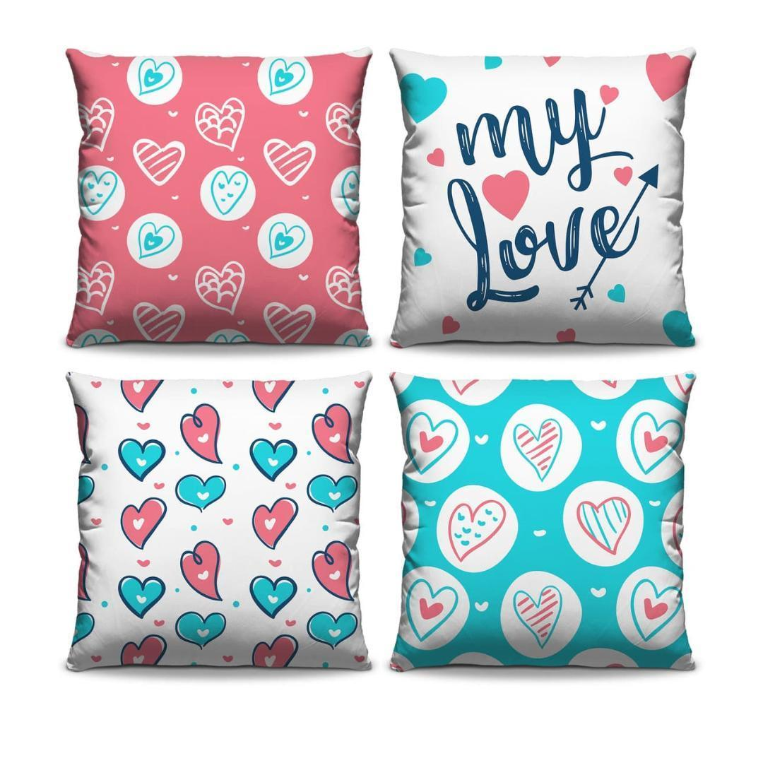 Kit 04 Almofadas Decorativas My Love Estampadas com Ziper