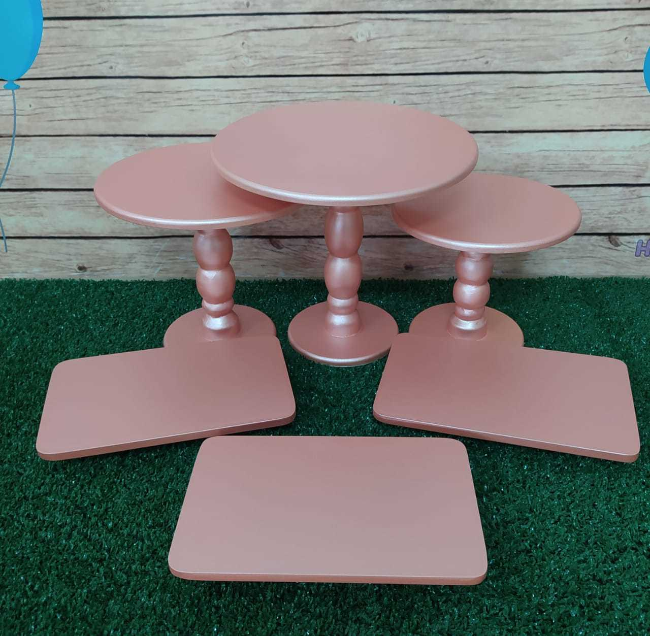 Kit Trio Boleira Bandeja Rose Gold Mdf