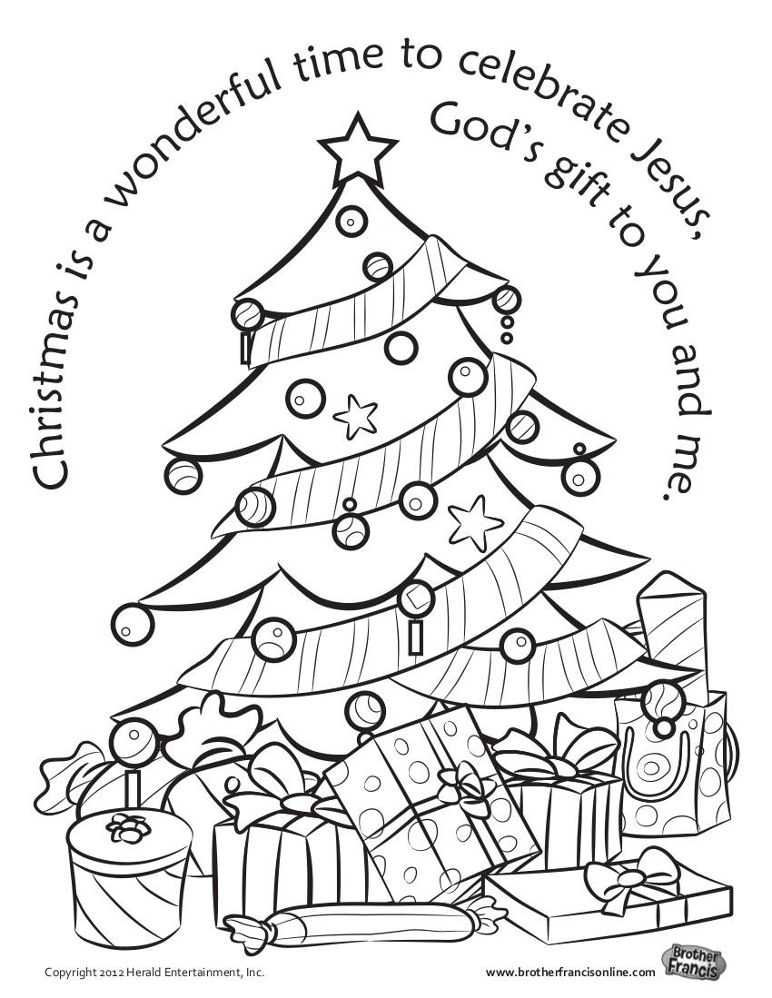 Christmas tree coloring page - CatholicBrain.com