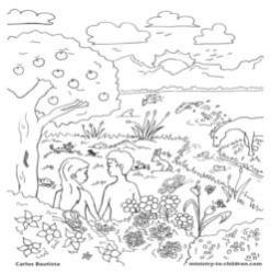 Coloring Page-Creation-Adam and Eve