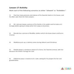 Honoring the Saints, Relics, and Images - Activity Sheet - Grade 3-5