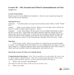 The 2nd and 3rd Commandments of God - Lesson Plan  - Grades 3-5