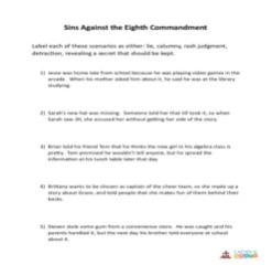 The 7th, 8th, 9th and 10th Commandments of God - Activity Sheet - Grades 6-8