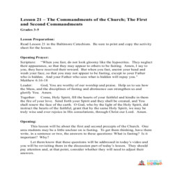The 1st and 2nd Commandments of the Church - Lesson Plan - Grades 3-5
