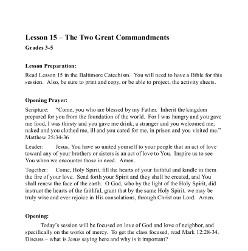 The Two Great Commandments - Lesson Plan - Grades 3-5