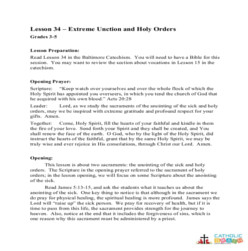 Extreme Unction and Holy Orders -  Lesson Plan - Grades 3-5