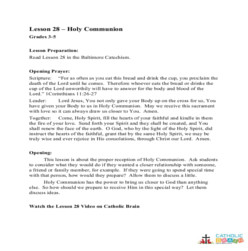 Holy Communion -  Lesson Plan - Grades 3-5
