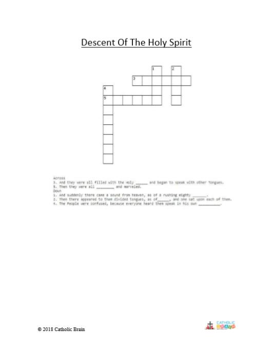 Descent of the Holy Spirit - Crossword