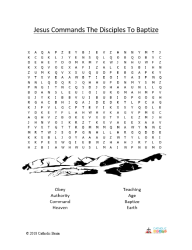 Jesus Commands the Disciples to Baptize - Word Search