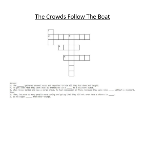 The Crowds Follow the Boat - Crossword