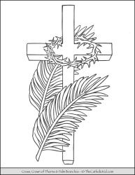 Cross, palm branches, crown of thorns
