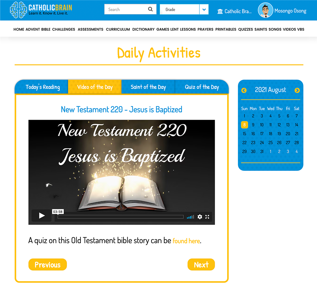 Daily & Weekly Activities
