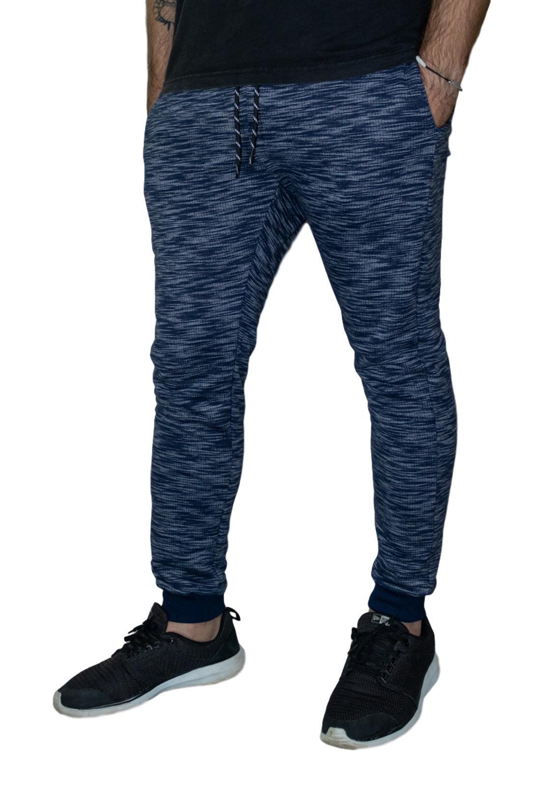 Calça de Moletom Outstanding Lifestyle Azul Marinho com Cinza