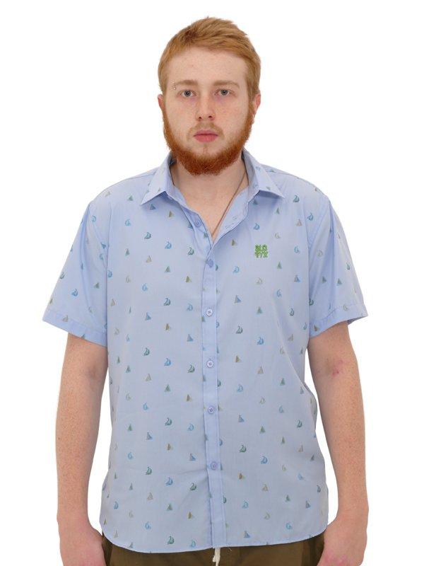Camisa Manga Curta Barcos Slim Azul