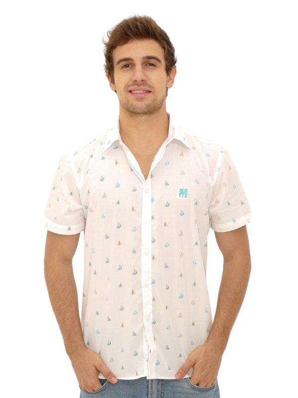 Camisa Manga Curta Barcos Slim Branca