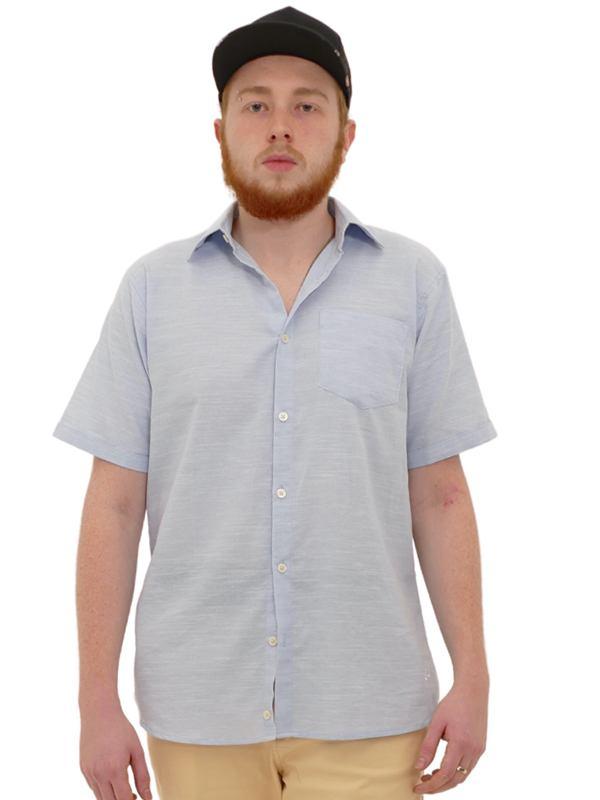 Camisa Manga Curta Linho Slim Azul