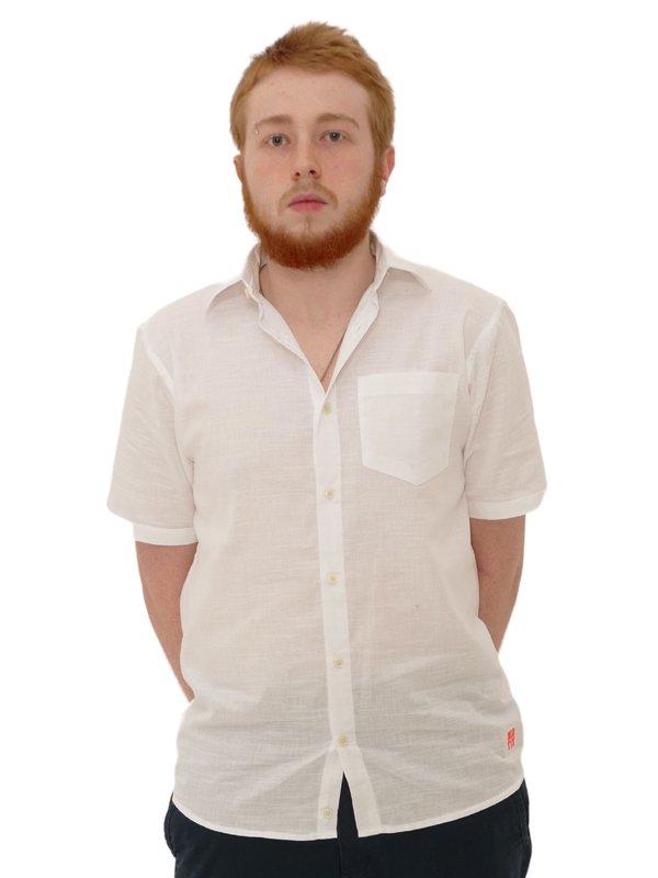Camisa Manga Curta Linho Slim Branca