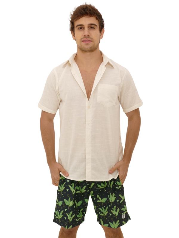 Camisa Manga Curta Linho Slim Off White